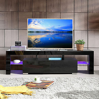 High Gloss Black TV Stand Unit Cabinet w/LED Shelves 2 Drawers Console Furniture