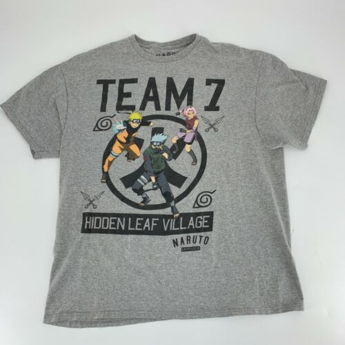 Naruto Shippiden Team 7 Gray T-Shirt Size XL Short Sleeve Hidden Leaf Village