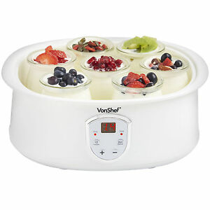 VonShef Digital Natural Yoghurt Maker with 7 Glass Jars & Automatic LCD Display