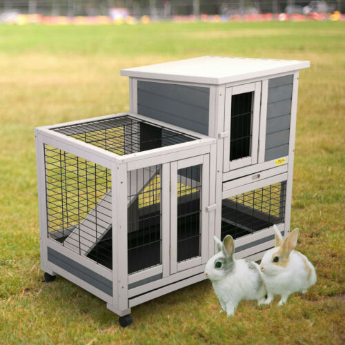 Rabbit Hutch Outdoor Wooden Pet Bunny House Wooden Cage with Ventilation Fence