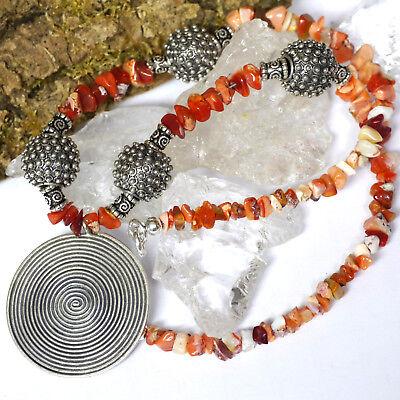 UNIKAT L40 Feueropal Collier Spirale Energieamulett Karen Hilltribe 950 Silber  Opale Spiral
