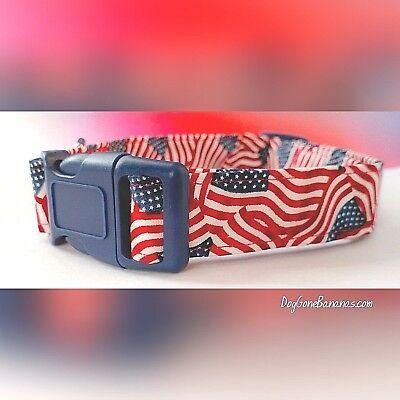 American Flag Patriotic Dog Collar Bandana Leash Cotton Handmade Washable