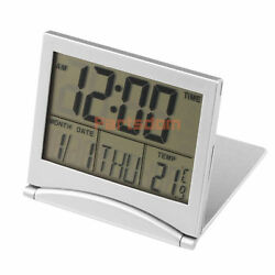 Digital LCD Folding Weather Station Desk Temperature Travel Alarm Clock DT4X