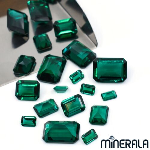 LAB GROWN ZAMBIA EMERALDS FACETED OCTAGON LOOSE GEMSTONE VARIOUS SIZES WP02771