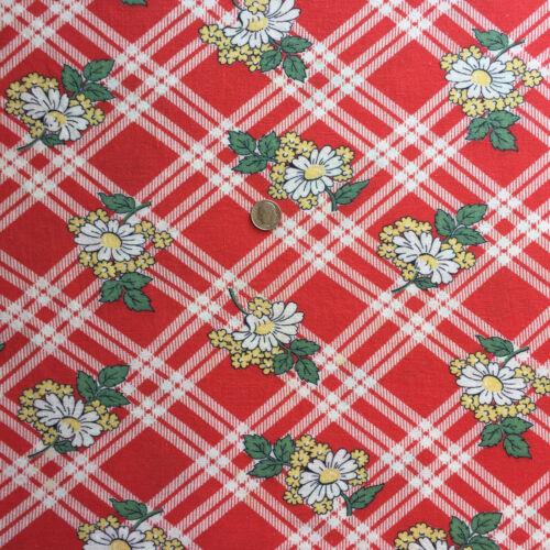 """Vintage Partial Feed SackYellow & White Floral on Red & White Plaid  21"""" x 18"""""""