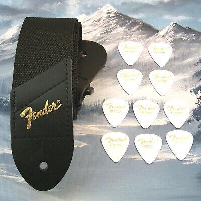GUITAR STRAP ~ GENUINE FENDER ~ BLACK w/ GOLD LOGO + 10 WHITE MED 351 PICKS