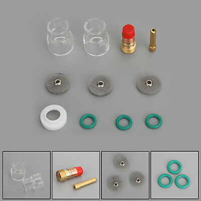 Tig Welding Torch 332 Gas Lens 12 Pyrex Cup 2.4mm Collet Kit For Wp-17 18 26