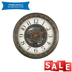 15.5 Wall Clock - Vintage / Gear Style Large Home Decor Aged Bronze
