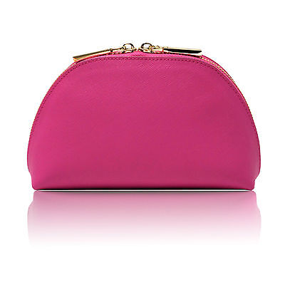 LEXI Deluxe Pink Saffiano Leather Cosmetic Make-up Travel Case Bag by (Pink Deluxe Leather Case)