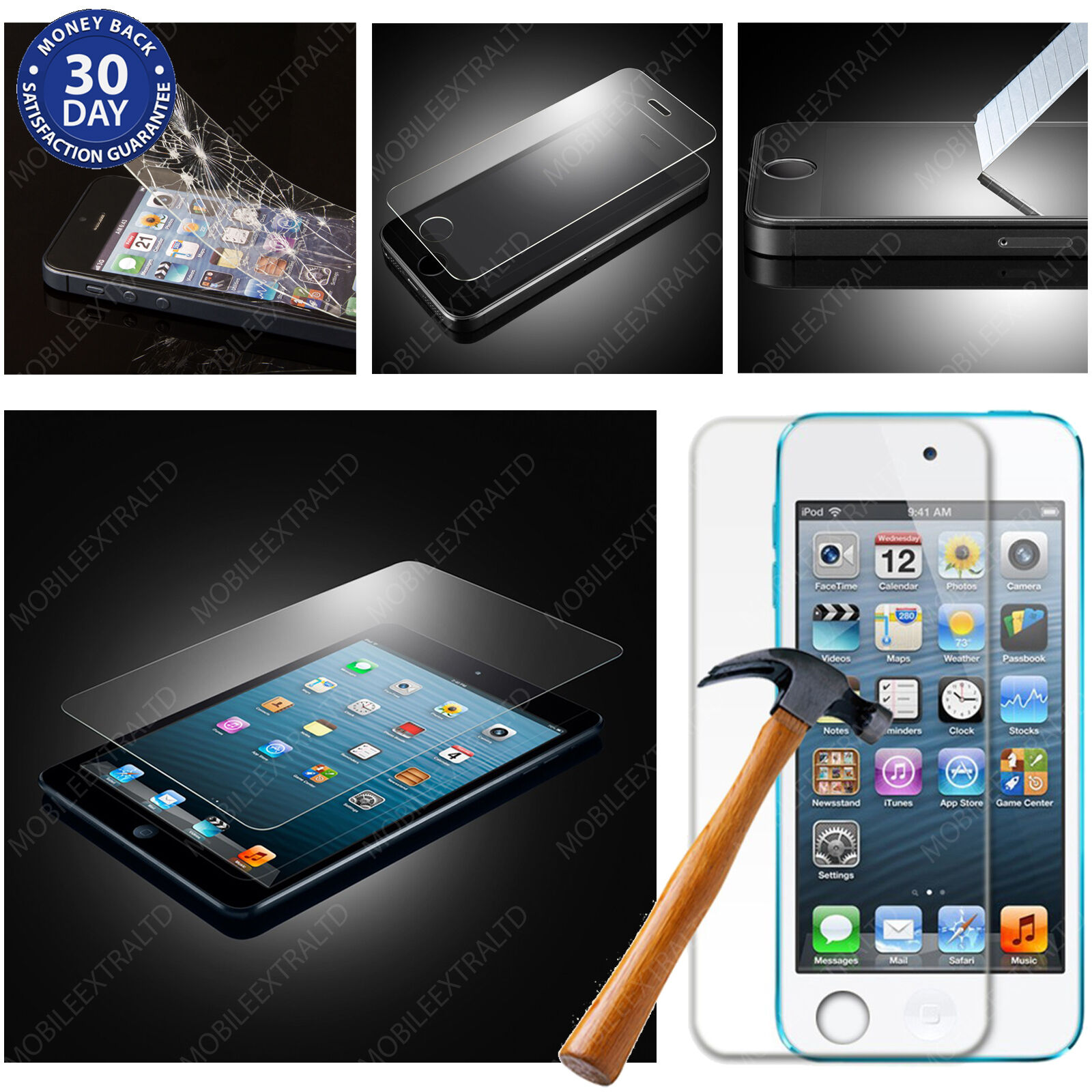 100% GENUINE TEMPERED GLASS FILM SCREEN COVER PROTECTOR FOR iPHONE iPAD TABLETS
