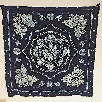 Reverse Bleach Tie Dye TABLECLOTH INDIGO BLUE WHITE Embroidered Accents 42