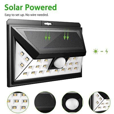 24 LED Solar Powered PIR Motion Sensor Security Spotlight Outdoor Garden Light