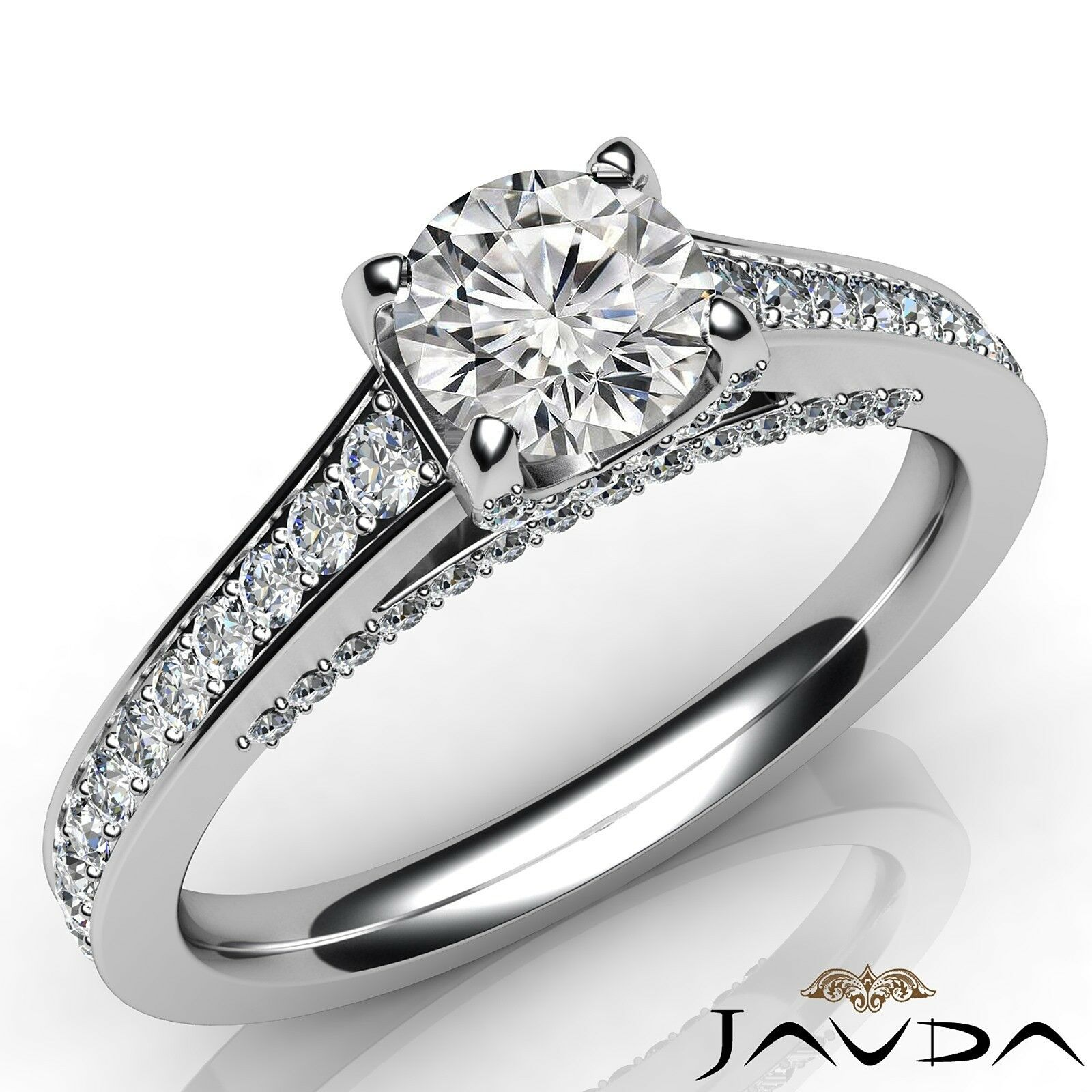 1.15ctw Natural 100% Round Diamond Engagement Ring GIA F-VVS2 White Gold Rings