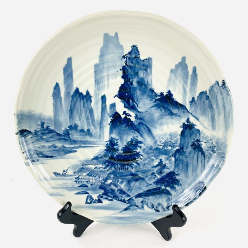 """Antique Japanese Porcelain Charger Scenic Blue White With Swirl Pattern 11 3/4"""""""