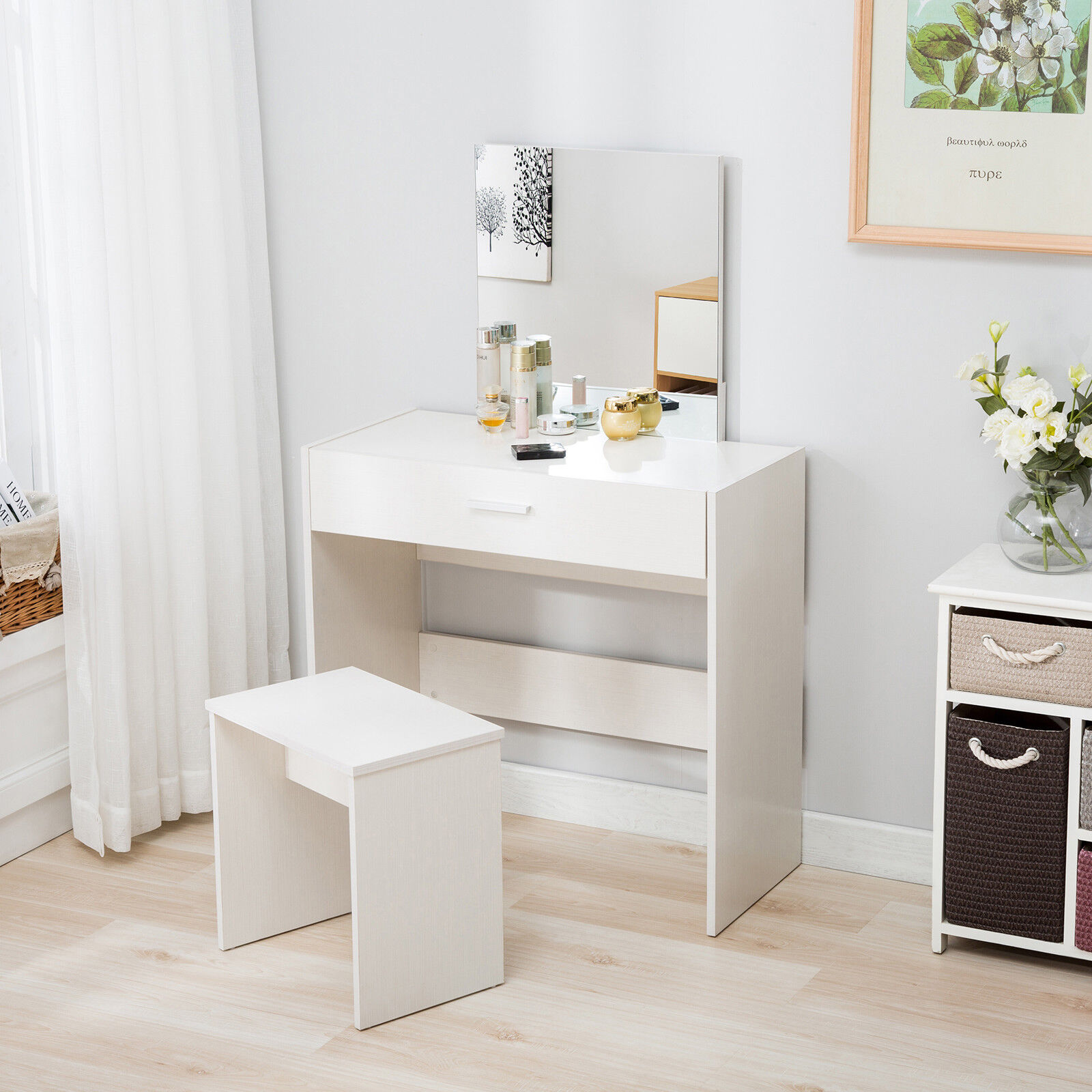 wholesale dealer 7ec1b 430e4 Details about Vanity Dressing Table & Stool Set Makeup Dresser Desk with  Mirror Drawer White