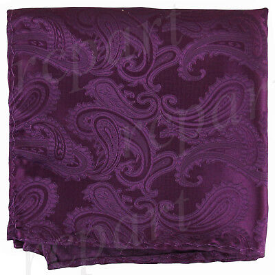 New Brand Q Men microfiber Pocket Square Hankie Only paisley plum purple formal