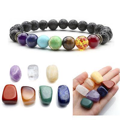 Set Tumbled Polish Stone + Chakra Lava Beads Stretch Bracelet Reiki Healing Gift Chakra Healing Stone Bracelet