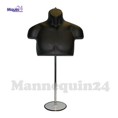 Male Torso Mannequin Form - Black W Metal Base