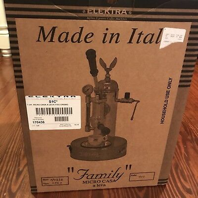 NEW Sealed Elektra S1C Micro Casa a leva Espresso Machine Chrome Made in Italy