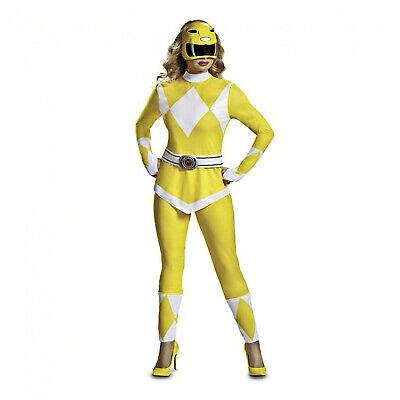 Yellow Mighty Morphin Power Ranger Costume (Women's Deluxe Yellow Mighty Morphin Power Ranger Classic 90's Costume)