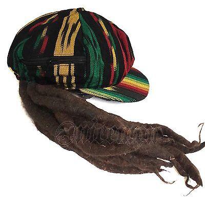 Jamaica Dreadlocks Dread Wig Visor Cap Hat Rastafari Costume Reggae RASTA CAP - Jamaica Costumes