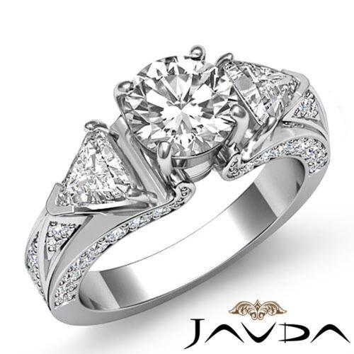 3 Stone Round Trillion Cut Diamond Engagement Ring GIA F VS2 14k White Gold 2ct