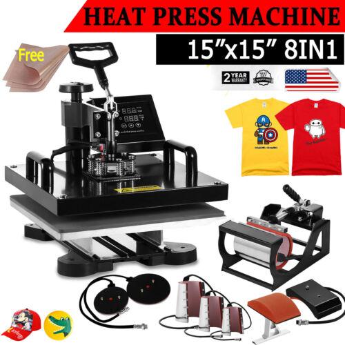 Best NEW 8 IN 1 HEAT PRESS MACHINE DIGITAL TRANSFER SUBLIMATION T-SHIRT MUG HAT 15