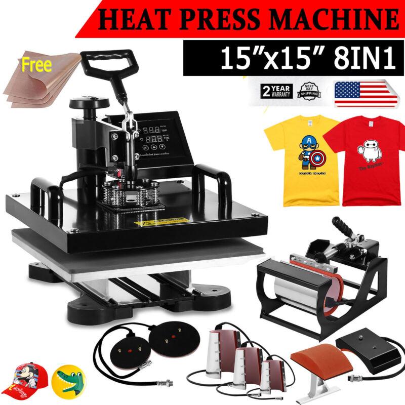 "15""x15"" 8in1 Heat Press Machine Transfer Sublimation T-Shirt Mug Hat Swing Away"
