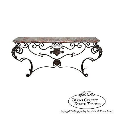 Custom Rococo Iron Console w/ Marble - Rococo Console