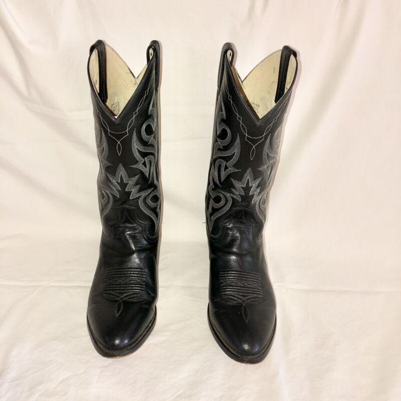 Dan Post Black Leather Western Boots Men 9.5 EW