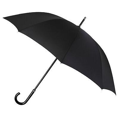 Paraguas Largo Negro con Mango Curvado Automatico Grande Caballero