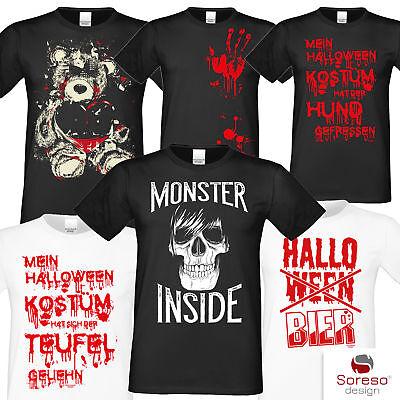 Halloween T-Shirt Herren Blut Totenkopf Monster Teddy Horror Kostüm Shirt Mann
