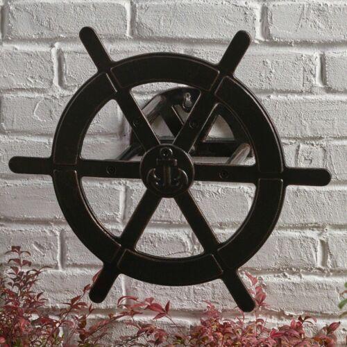 Chole Outdoor Patina Copper Aluminum Ship Wheel Hose Holder Home & Garden