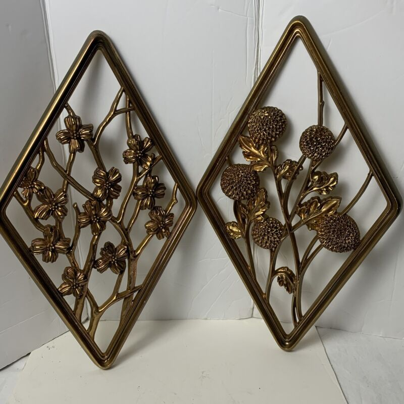VTG Pair Of Syroco Diamond Shape Seasons Wall Plaques Golden Floral Gold Plastic