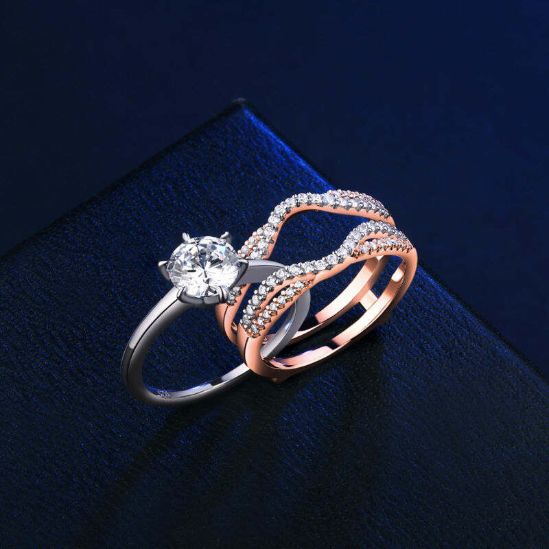 Wedding Engagement Ring Set 1.9ct Rose Gold 925 Sterling Silver Round Aaaaa Cz