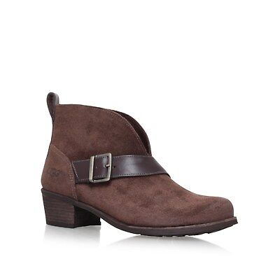 BRAND NEW IN BOX - UGG WRIGHT BELTED SUEDE ANKLE BOOTS - BROWN - SIZE 8.5