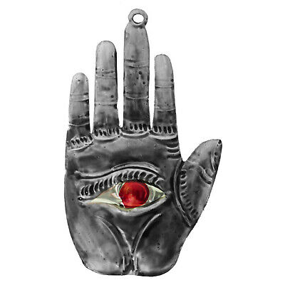 "Punched Tin Sacred Milagro Eye in Hand Hamsa Ornament, 5.5""  Mexican Folk Art"