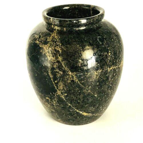 "Gorgeous Polished Marble Onyx Granite ? Blacks, yellows, Grays 6""x5"" Heavy Vase"