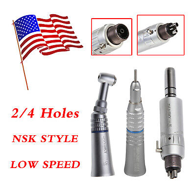 Dental Low Speed Contra Angle Push Air Motor 4 Hole Straight Nose Handpiece