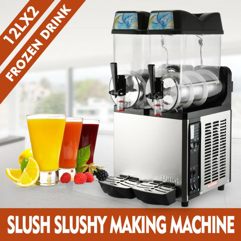 2×12L Commercial Frozen Drink Slush Slushy Machine Slurpee Margarita 2 Tanks