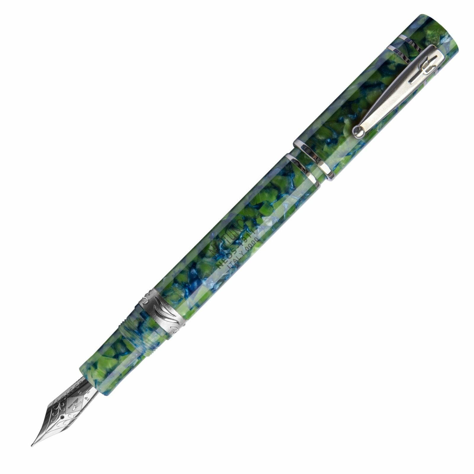 Nettuno 1911 Neos Atlante Fountain Pen, Blue & Green, Palladium Trim, Fine Nib Collectibles