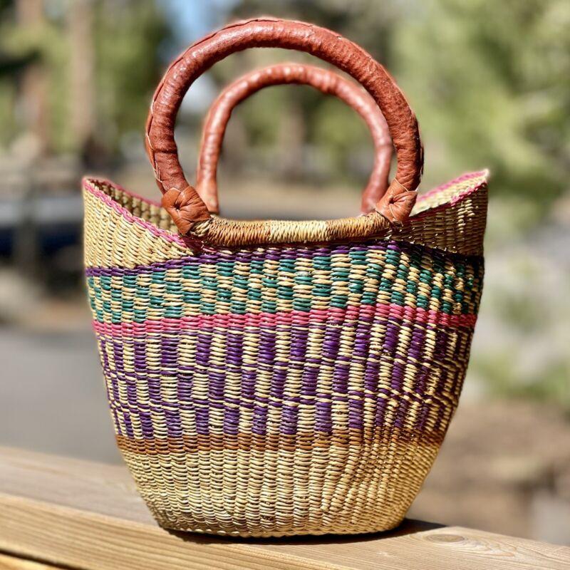 NEW Authentic Handmade African Ghana Bolga Basket - Small Shopper Market Tote