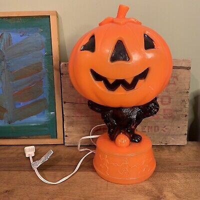 Halloween JACK-O-LANTERN Blow Mold Black Cat Skeletons Light Up Plastic Vintage