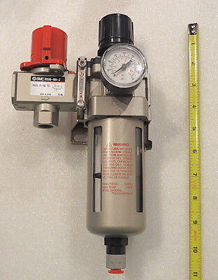 Smc Air Filter And Regulator Kit 12 Npt With Auto Drain Wall Mount Kit