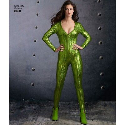 S8670 Simplicity 8670 Sewing Pattern Costumes Superhero Comics Gamora Catsuit - Superhero Costume Patterns Adults