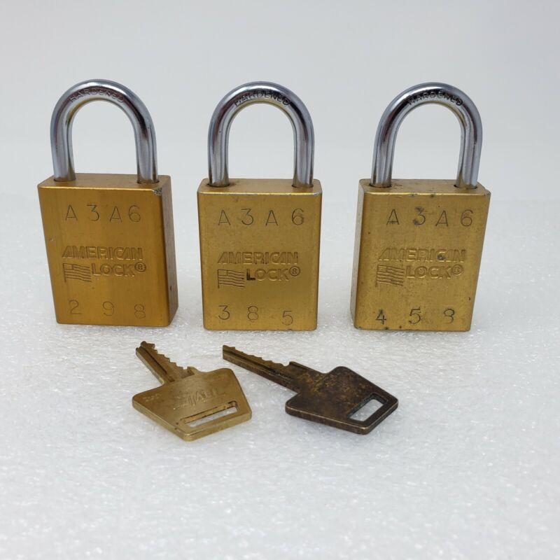 "3x AMERICAN LOCK Keyed Alike Gold Padlock 1"" Shackle Hardened Steel Series 1100"