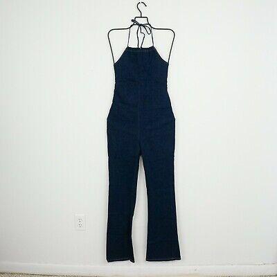 VTG 90s Womens Denim Halter Jumpsuit M/L 70s Style Stretch Back Tie D19