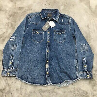 New Zara Man Denimwear Distressed Frayed Heavy Denim Shirt Jacket Mens Large