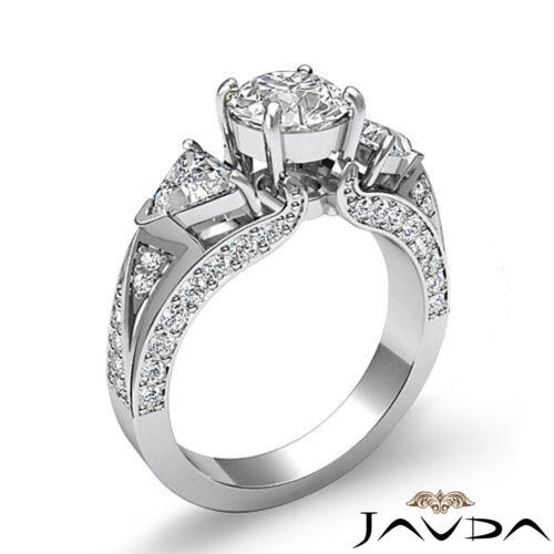 3 Stone Round Trillion Cut Diamond Engagement Ring GIA F VS2 14k White Gold 2ct 1