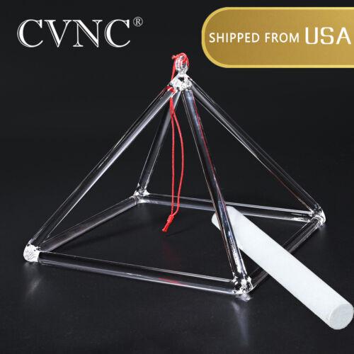 CVNC 12 Inch Clear Quartz Crystal Singing Pyramid Bowl Sound Energy Suede Mallet